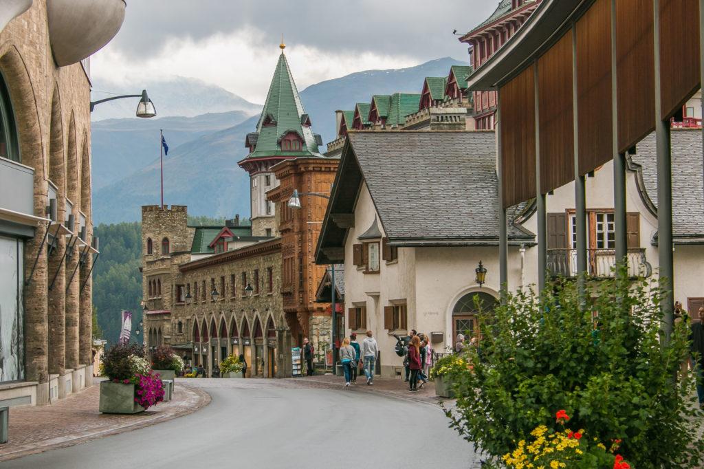 Centro histórico de Saint Moritz, Suíça.