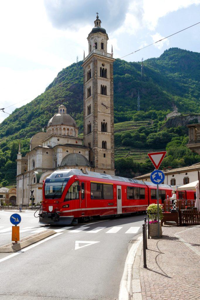 Trajeto do trem Bernina – Santuario della Madonna di Tirano