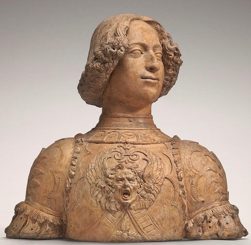Busto de Giuliano de Médici, irmão de Lourenço, com a armadura que usara no famoso torneio. Estátua de Andrea del Verrocchio, hoje nos Estados Unidos (National Gallery of Art).
