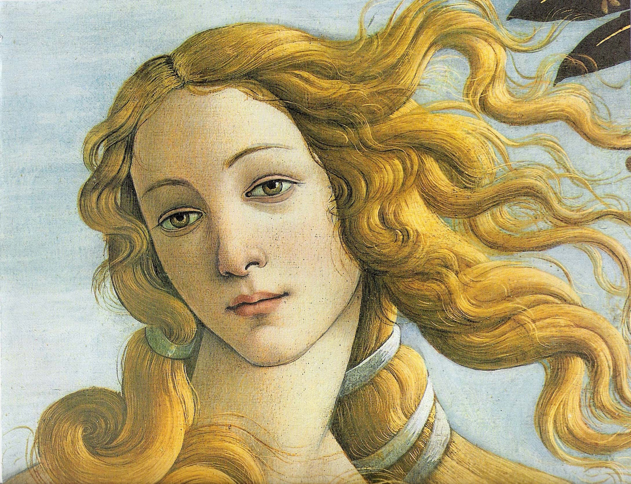 Detalhe do Nascimento de Vênus de Botticelli, Galleria degli Uffizi.