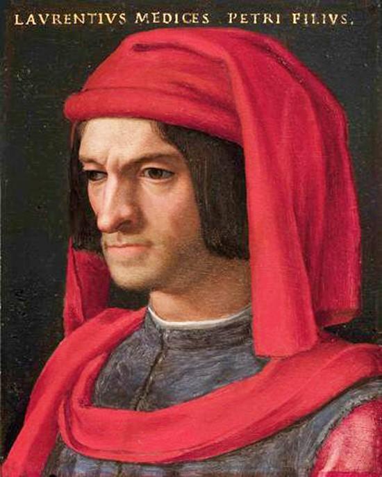 Lourenço de Médici, senhor de Florença e importante mecenas do Renascimento. Retrato de Agnolo Bronzino, Galleria degli Uffizi.