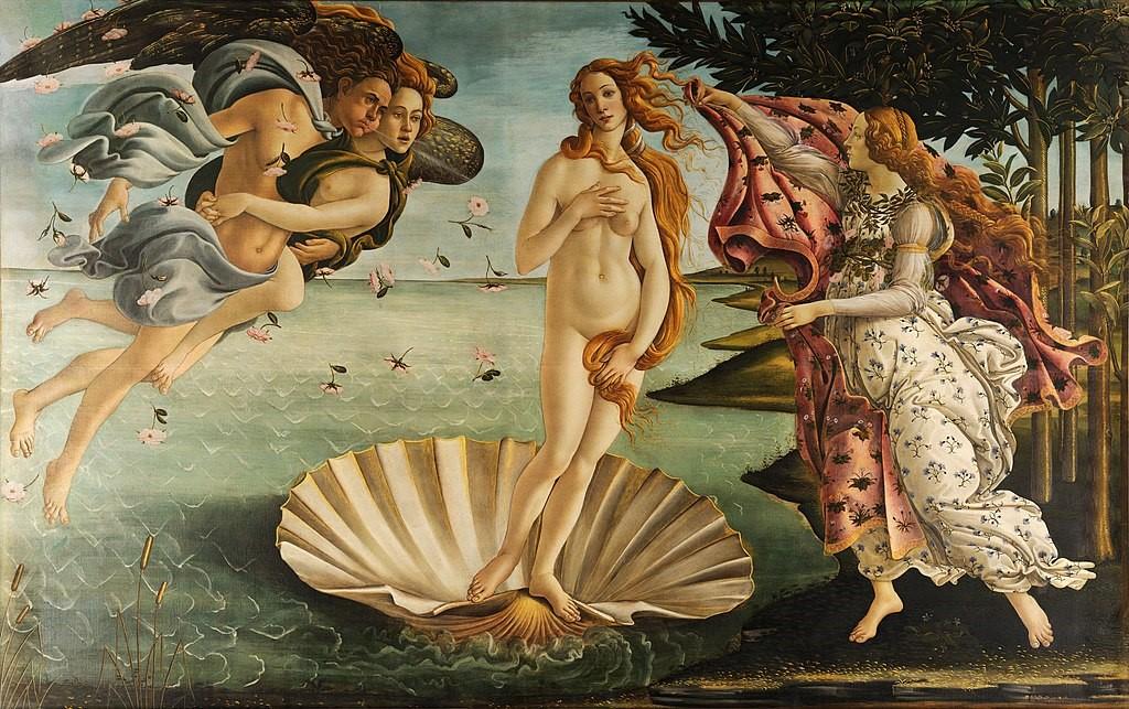 O nascimento de Vênus de Sandro Botticelli, hoje na Galleria degli Uffizi. A deusa apresenta as feições de Simonetta, mesmo sendo o quadro pintado 9 anos após a sua morte.