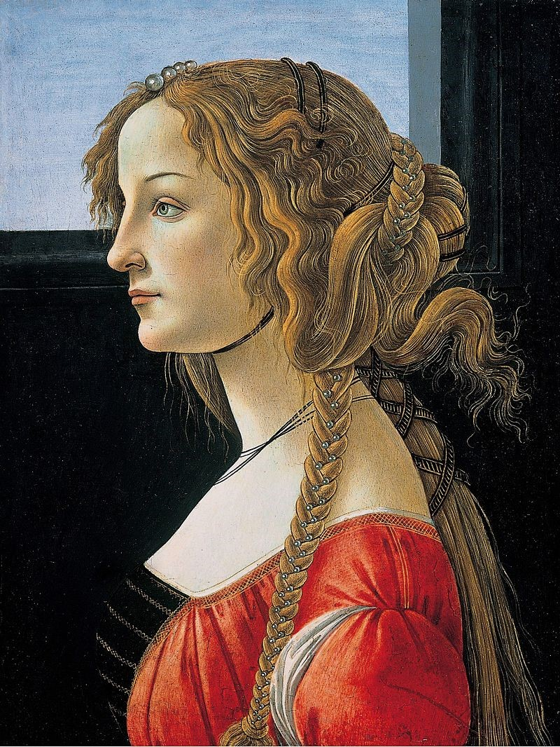 Simonetta Vespucci em retrato feito por Sandro Botticelli, hoje em Berlim (Gemäldegalerie).