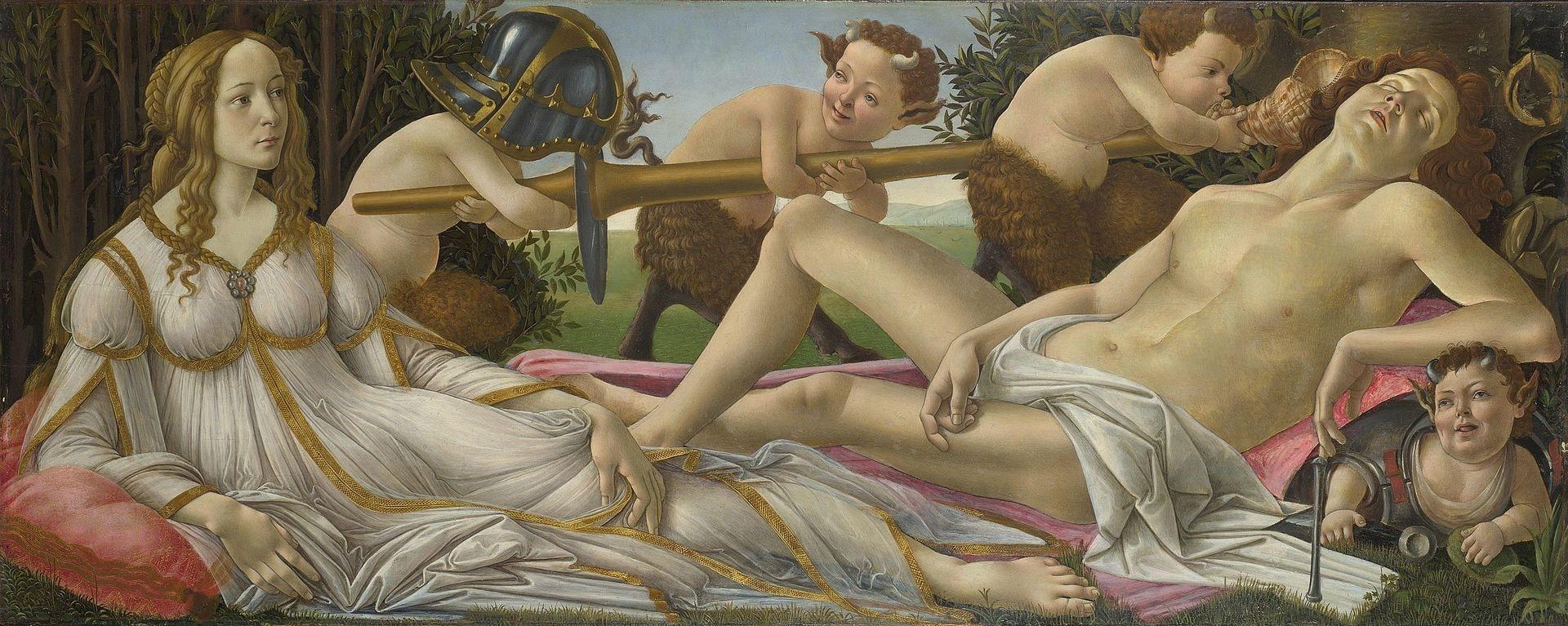 Vênus e Marte de Sandro Botticelli (National Gallery, Reino Unido). As feições dos deuses são as de Simonetta Vespucci e Giuliano de Médici. O quadro foi pintado em 1482, quatro anos após a morte de Giuliano e seis após a morte de Simonetta.