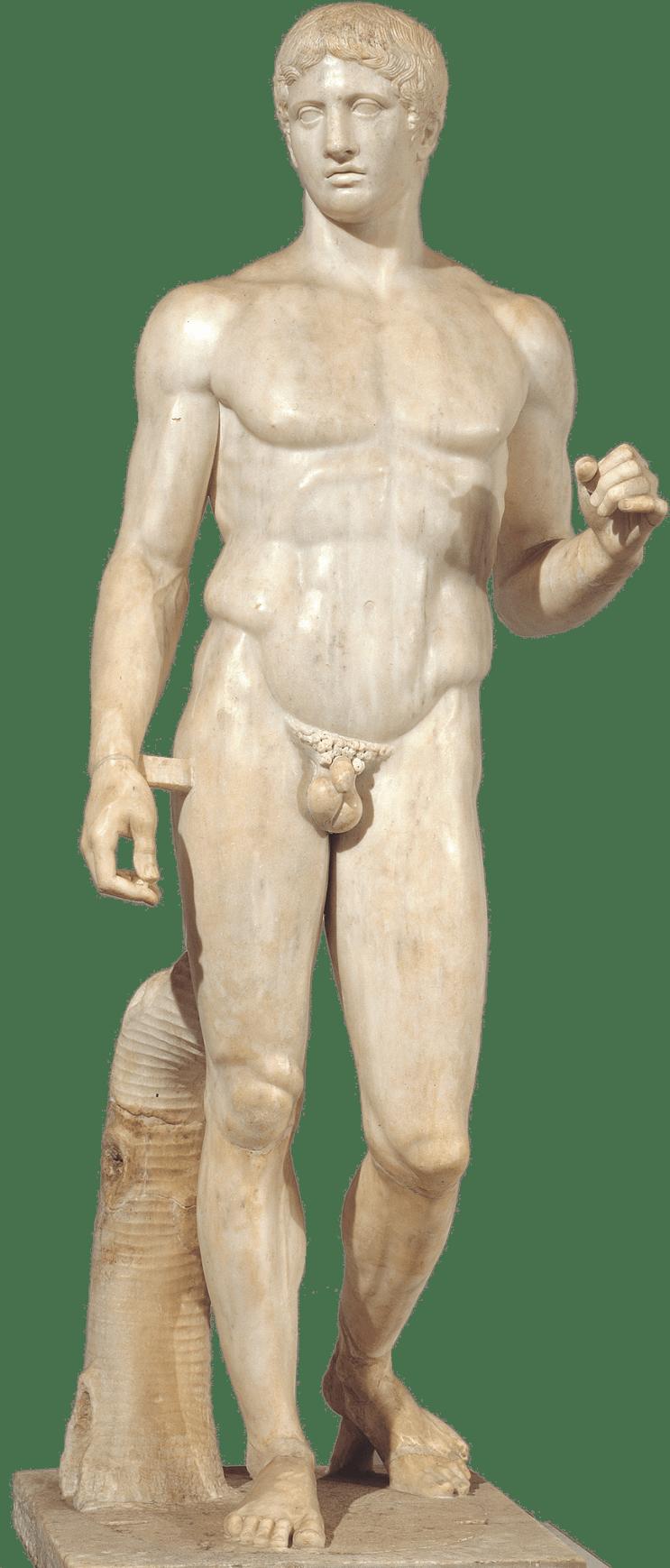 O Doríforo de Polícleto, cuja melhor réplica no mundo é justamente aquela conservada no Museu de Nápoles.