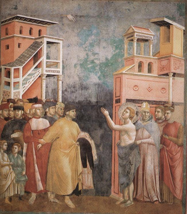 Afresco de Giotto, famoso pintor medieval, retratando o célebre episódio da renúncia aos próprios bens, durante o qual Francisco se despe e entrega suas vestes.
