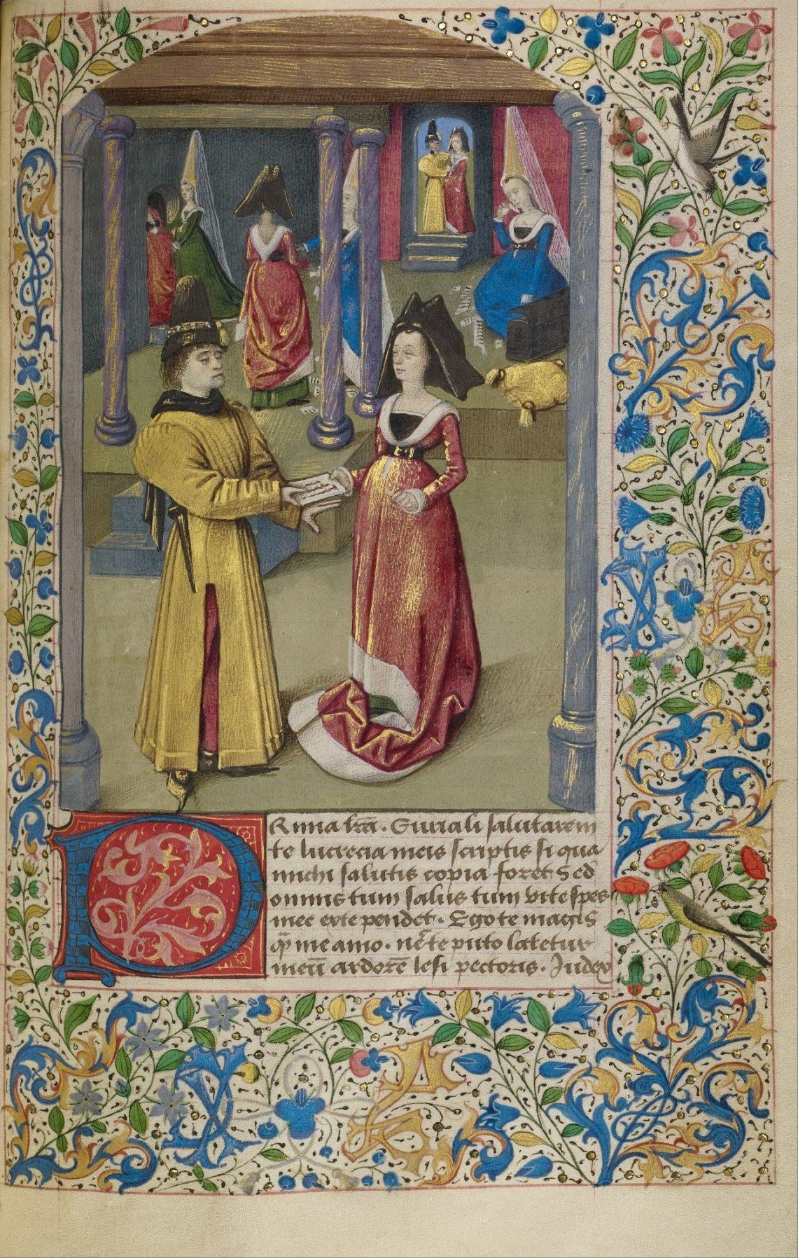 """Miniatura decorativa de um manuscrito do livro """"História de dois amantes"""" além de diplomata e papa."""
