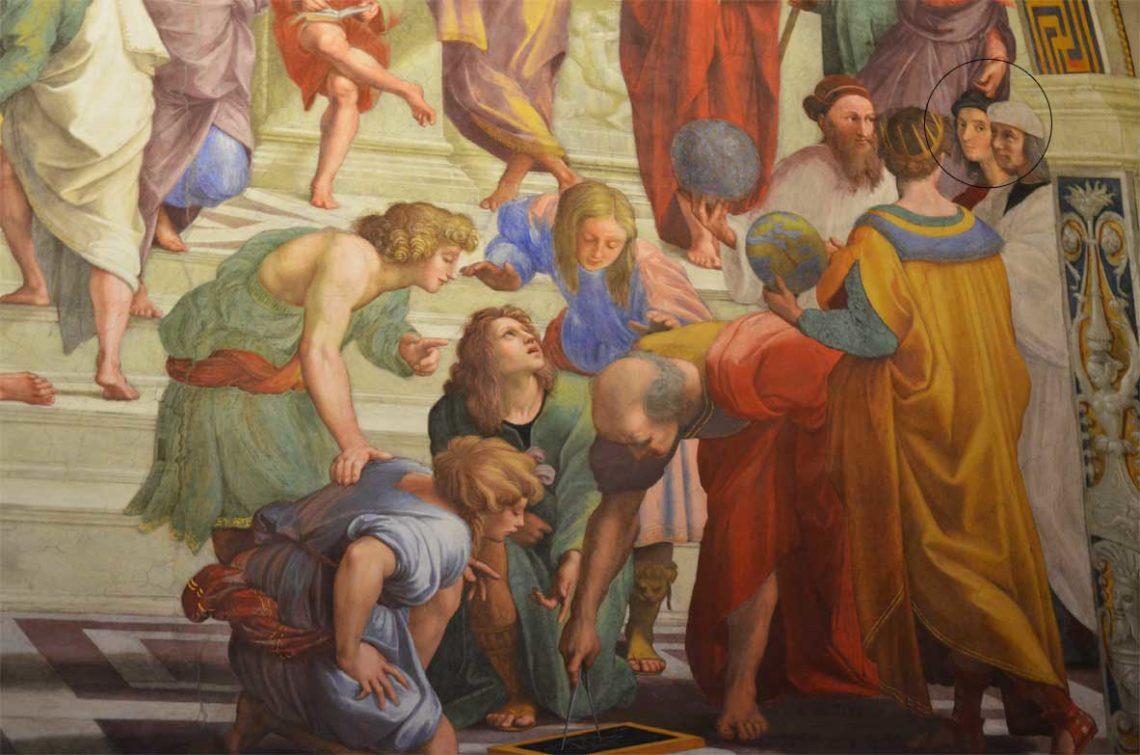 Detalhes da obra A escola de Atenas de Raffaello Sanzio